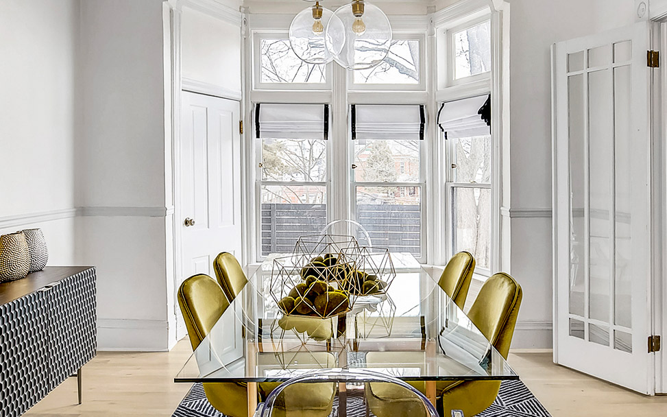 interior design of dining room table wth amzing gold table