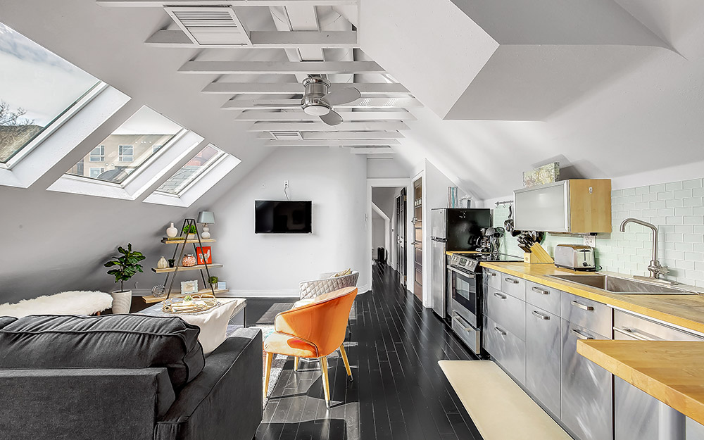 highlands Loft with exposed skylights